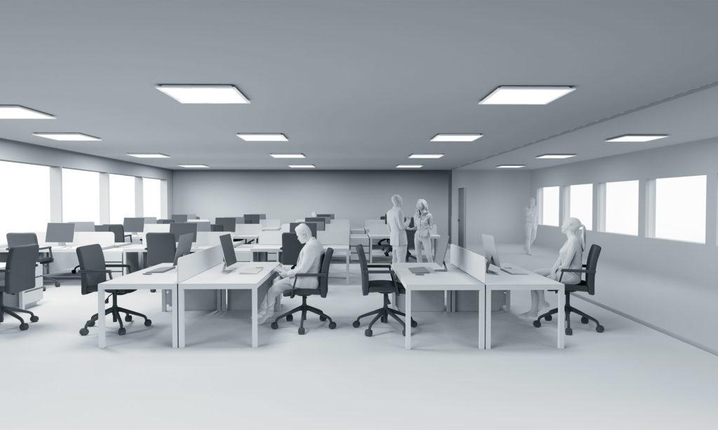 Computergrafik eines Büroraumes ganz in Weiß